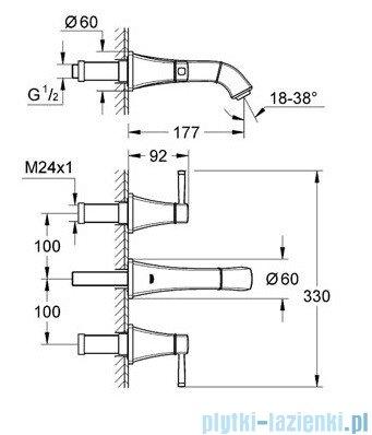 Grohe Grandera 3-otworowa bateria umywalkowa DN15 chrom/złoty 20414IG0
