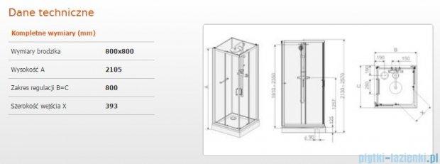 Sanplast Kabina czterościenna kompletna kpl-KCKN/CLII-80 80x80x210 cm przejrzysta 602-011-0020-01-4B1