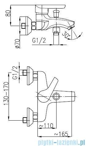 KFA OBSYDIAN Bateria wannowa ścienna 5104-010-00