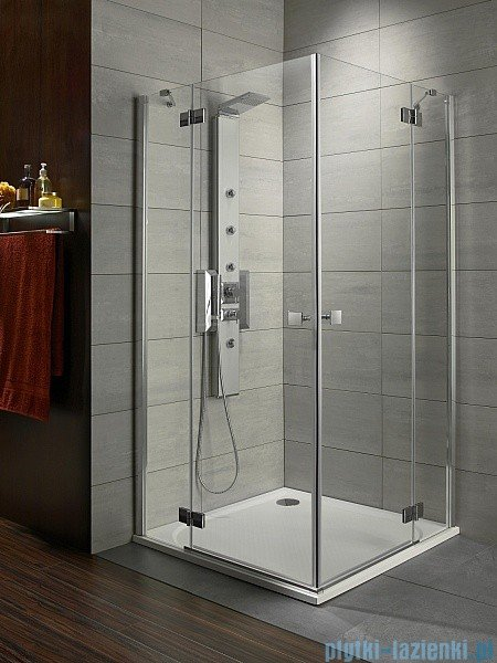 Radaway Kabina prysznicowa Almatea Kdd 90x80 szkło przejrzyste + brodzik Doros D + syfon 32186-01-01N