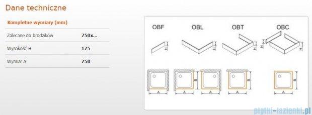 Sanplast Obudowa frontowa do brodzika OBF 75x17,5 cm 625-403-0220-01-000