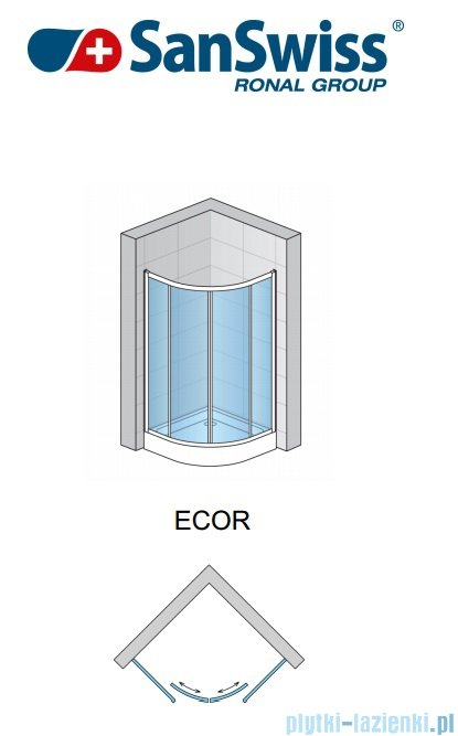 SanSwiss Eco-Line Kabina półokrągła Ecor 80cm profil biały szkło przejrzyste ECOR500800407