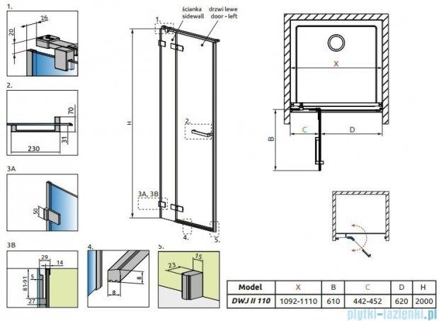 Radaway Arta Dwj II drzwi wnękowe 110cm lewe szkło przejrzyste 386441-03-01L/386013-03-01L