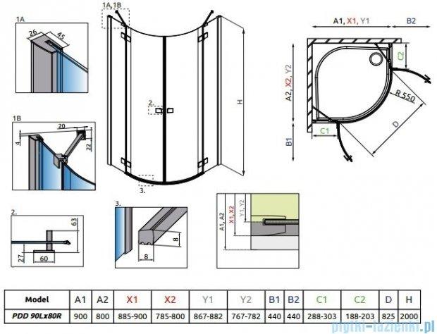Radaway Essenza New Pdd kabina 90x80cm szkło przejrzyste 385001-01-01L/385002-01-01R