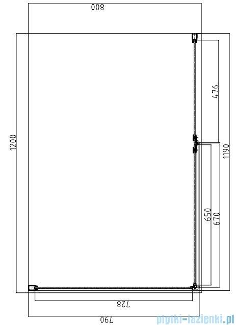 Omnires Manhattan kabina prostokątna 80x120x195cm szkło przejrzyste ADC82XLUX-T