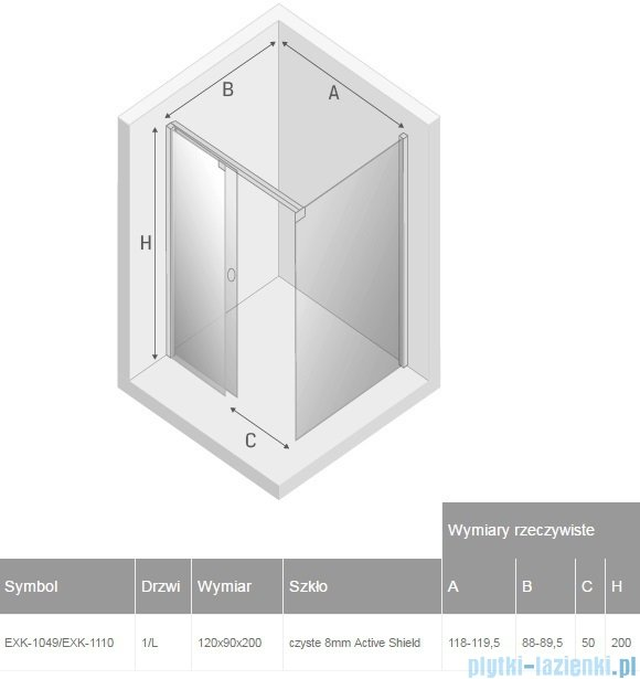 New Trendy Porta kabina prostokątna  120x90x200cm lewa przejrzyste EXK-1049/EXK-1110