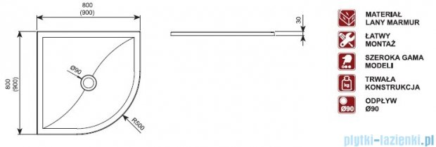 Aquaform Versus brodzik półokrągły 90x90x3cm 06934