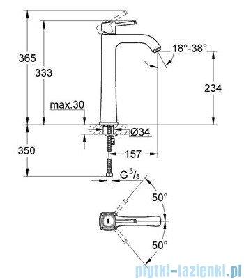Grohe Bateria umywalkowa Grandera DN15 chrom/złoty bez zestawu odpływowego 23313IG0