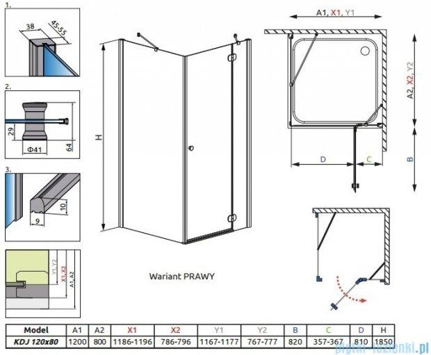 Radaway Torrenta Kdj kabina 120x80 prawa szkło grafitowe + Brodzik Doros D + syfon 32232-01-05NR