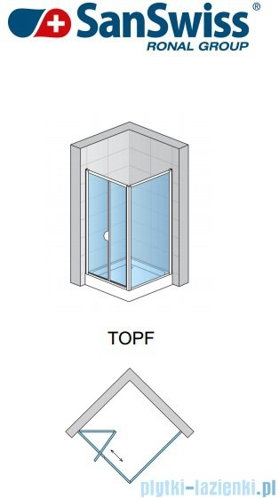 SanSwiss TOPF Ścianka boczna 90cm profil srebrny TOPF09000107