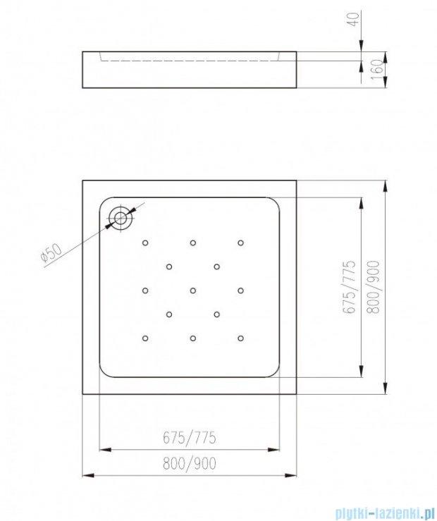 Deante Corner brodzik kwadratowy 90x90 cm KTC 041B