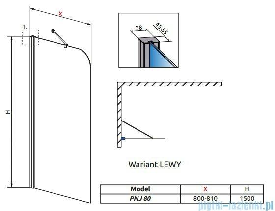 Radaway Torrenta PNJ Parawan nawannowy jednoczęściowy 80 lewy szkło grafitowe 201101-105NL