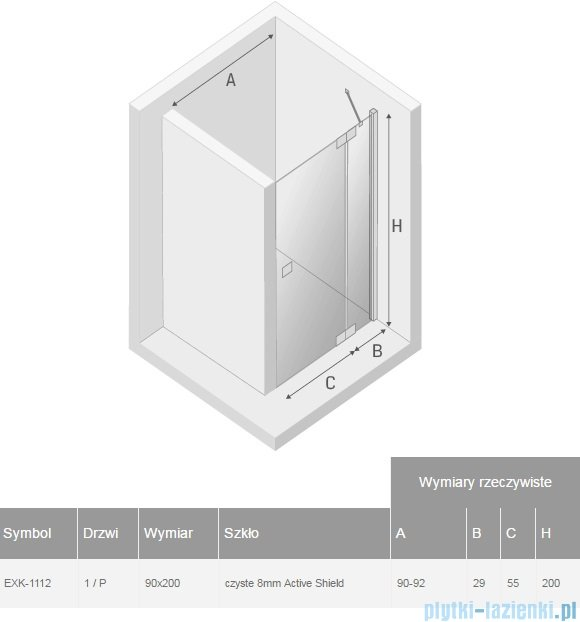 New Trendy Kamea drzwi prysznicowe 90cm prawe szkło przejrzyste EXK-1112
