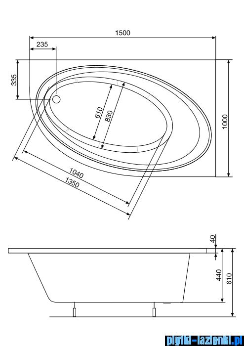 Roca Orbita wanna 150x100cm prawa z hydromasażem Effects Titanium A24T216000
