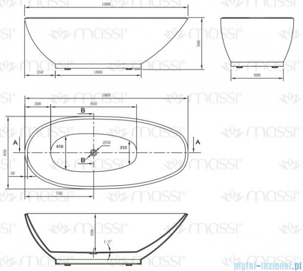 Massi Prestige 190 wanna wolnostojąca 190x85 cm biała MSWA-6906