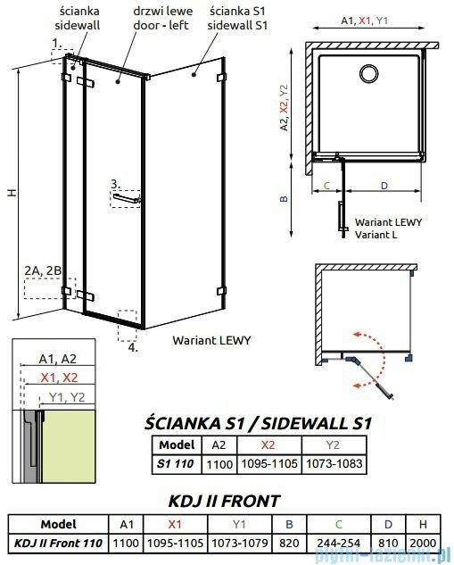 Radaway Arta Kdj II kabina 110x110cm lewa szkło przejrzyste 386457-03-01L/386040-03-01L/386023-03-01