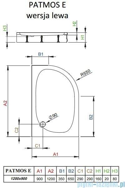 Radaway Brodzik półokrągły Patmos E 120x90 lewy ze zdejmowaną obudową 4P91217-03L