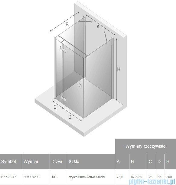 New Trendy Reflexa 80x90x200 cm kabina trójścienna lewa przejrzyste EXK-1247