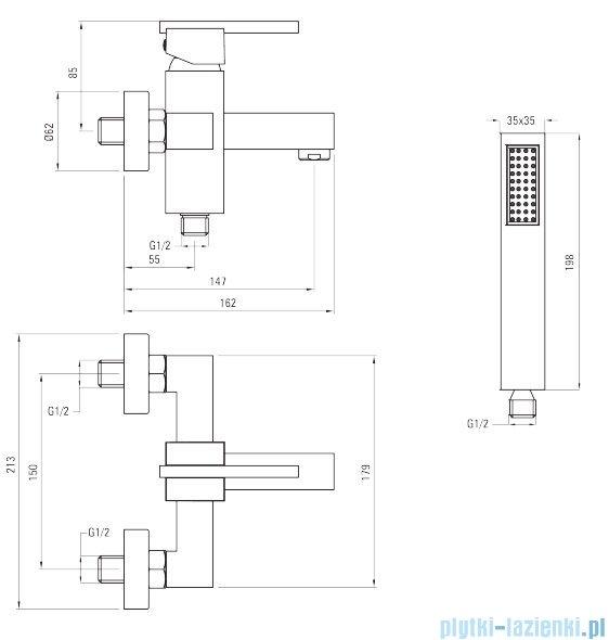 Deante Cubic Bateria wannowa z kompletem natryskowym chrom BDD 011M