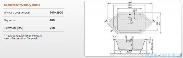Sanplast Space Line Wanna sześciokątna+stelaż+adapter z pokrywką W6k/SPACE 190x90+SP, 610-100-1560-01-000