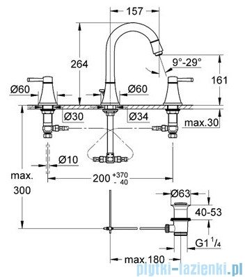 Grohe Grandera 3-otworowa bateria umywalkowa DN15 chrom 20389000
