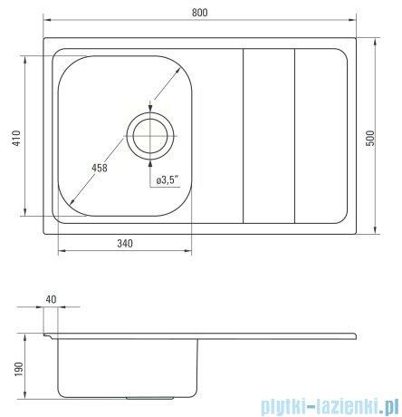 Deante Maestro zlewozmywak 1-komorowy z ociekaczem 80x50 cm satyna ZSM 0113