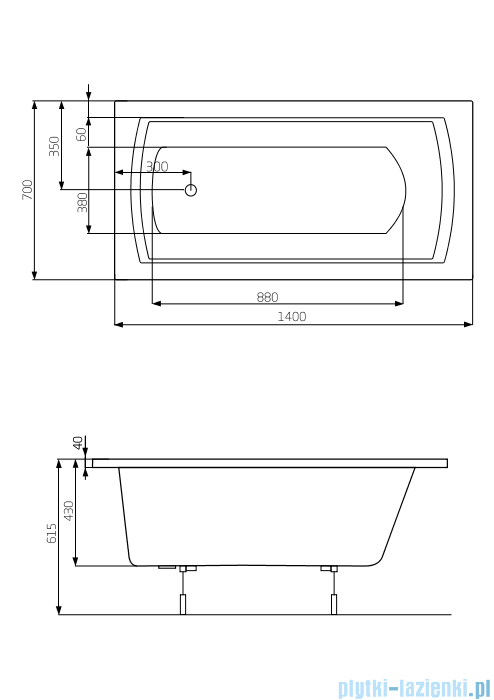 Roca Linea wanna 140x70cm z hydromasażem Effects Gold Opcja A24T008000