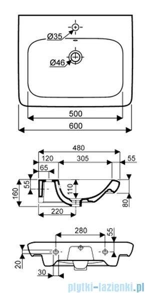 Koło Life! umywalka 60cm otworem na baterie biała M21160