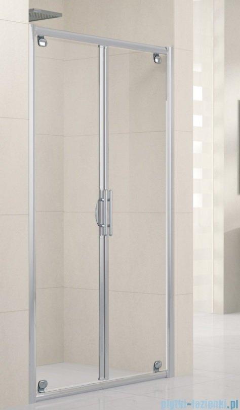 Novellini Drzwi prysznicowe składane LUNES B 90 cm szkło przejrzyste profil srebrny LUNESB90-1B