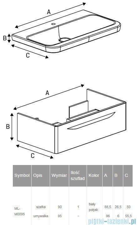 New Trendy Sfero szafka umywalkowa 90 cm + umywalka biały połysk ML-M0095
