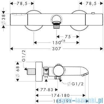 Hansgrohe Axor Citterio M Bateria termostatowa DN15 do wanny 34435000