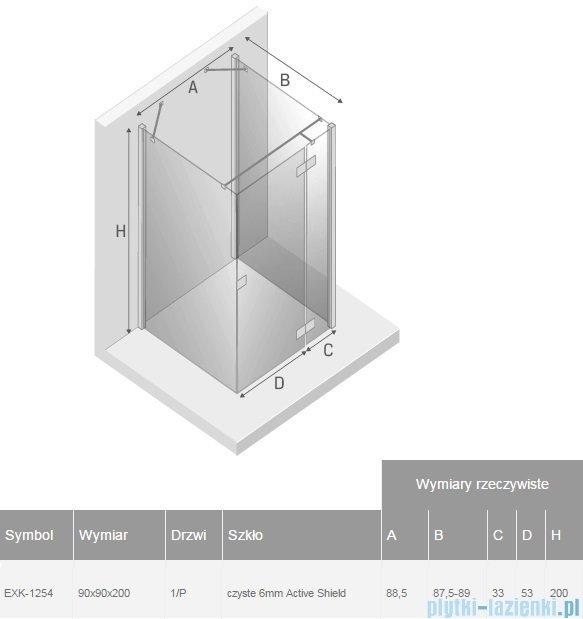 New Trendy Reflexa 90x90x200 cm kabina trójścienna prawa przejrzyste EXK-1254