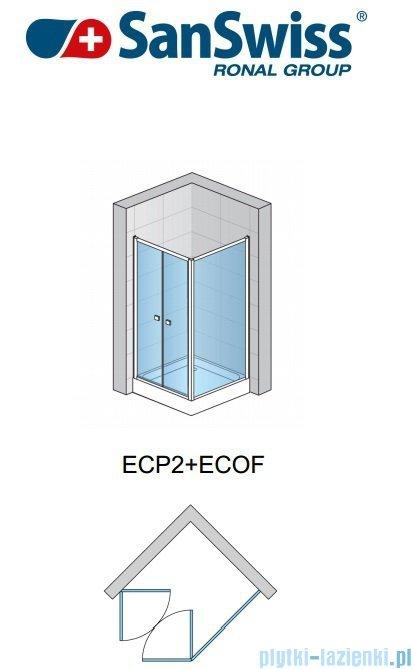 SanSwiss Eco-Line Drzwi 2-częściowe Ecp2 90cm profil biały szkło przejrzyste ECP209000407