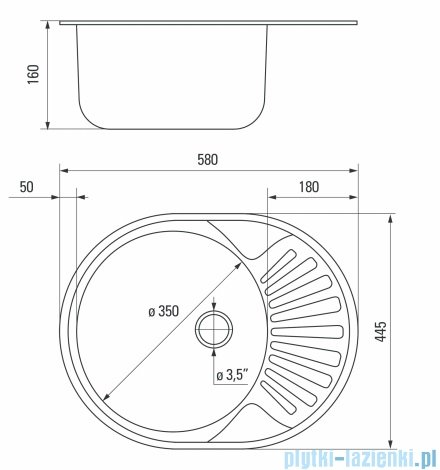 Deante Twist zlewozmywak 1-komorowy okrągły z krótkim ociekaczem 58x44,5 cm satyna ZEU 011C