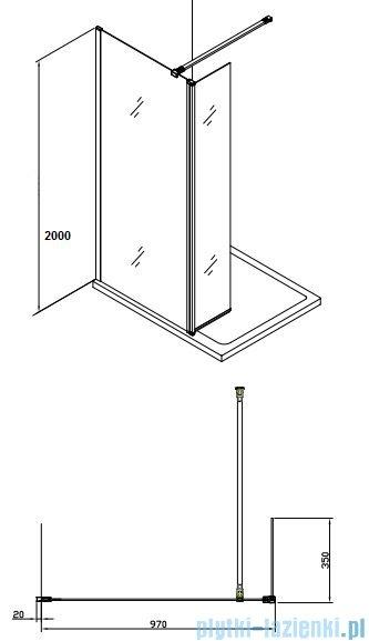 Alterna kabina typu walk-in 100x200 cm przejrzysta ALTN-195221