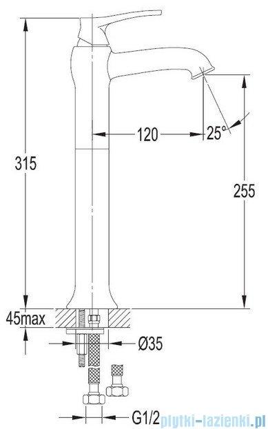 Omnires Art Deco bateria umywalkowa sztorcowa wysoka chrom AD5112