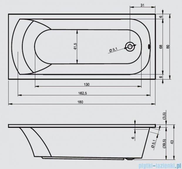 Riho Miami wanna prostokątna 180x180cm+nóżki+syfon BB64/01U/AMC55