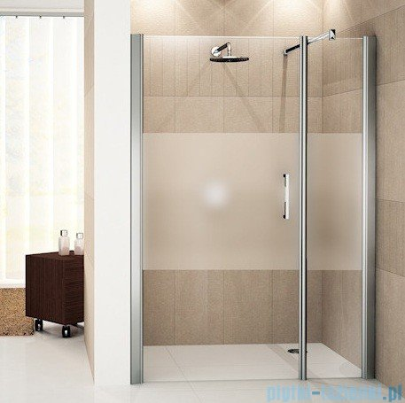 Novellini Drzwi do wnęki z elementem stałym GIADA G+F 96 cm lewe szkło przejrzyste profil biały GIADNGF96S-1A
