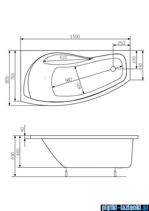 Roca Nicole wanna 150x80cm lewa z hydromasażem Smart WaterAir Plus A24T125000