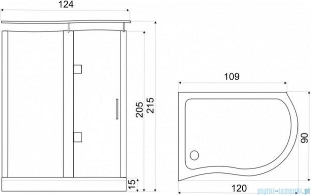 NOVOTERM kabina prysznicowa lewa szkło: transparentne 120x90 NERO Lewa T