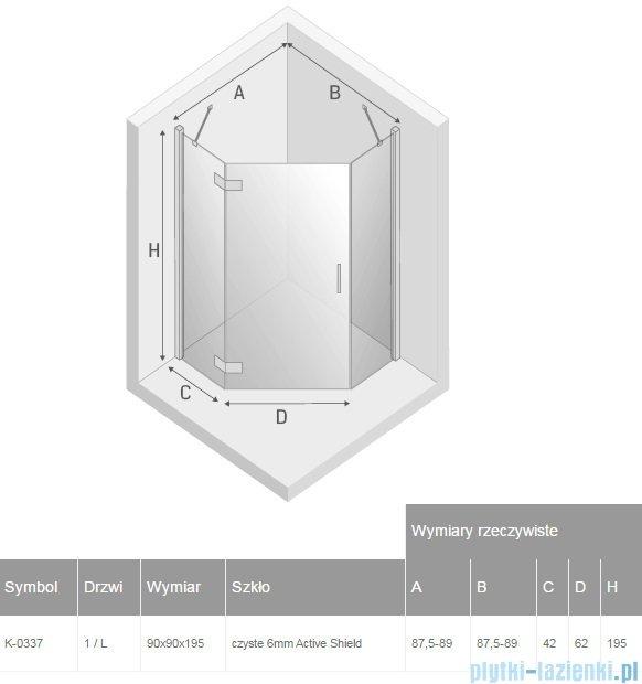 New Trendy New Azura kabina pięciokątna 90x90x195 cm przejrzyste lewa K-0337