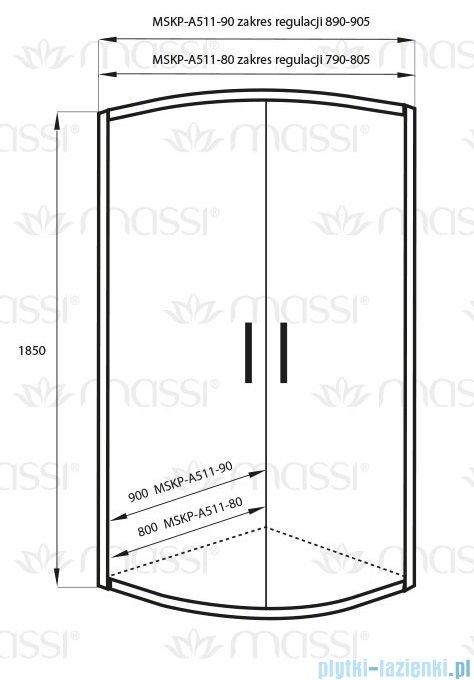 Massi Demi kabina półokrągła 90x90x185cm+brodzik MSKP-A511-90