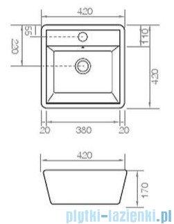 Bathco Genova-A umywalka nablatowa 42x42cm 4058