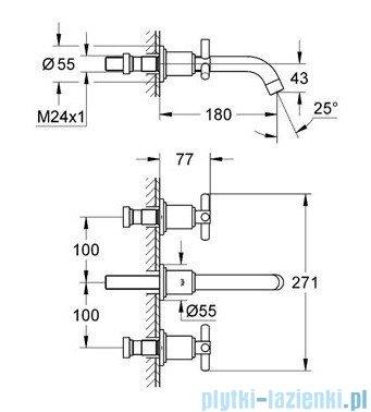 Grohe Atrio 3-otworowa bateria umywalkowa DN 15 wylewka 180cm chrom 20164000