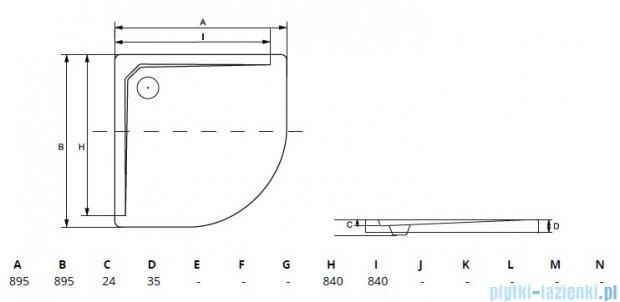 Besco Asco ultraslim 90x90x3,5cm Brodzik półokrągły B.ASCO-90