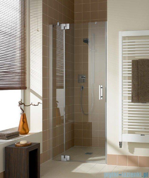 Kermi Filia Xp Drzwi wahadłowe z polem stałym, lewe, szkło przezroczyste, profile srebrne 130x200cm FX1TL13020VAK