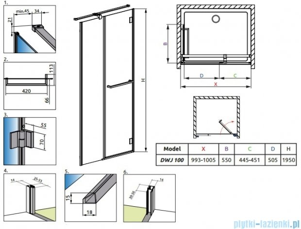 Radaway Carena DWJ Drzwi prysznicowe 100 prawe szkło brązowe + brodzik Delos C 34322-01-08NR