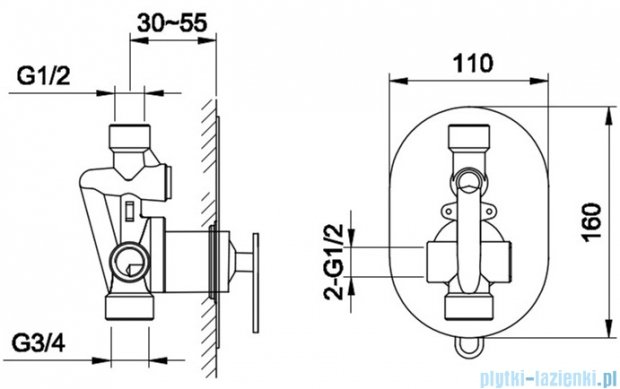 Kohlman Boxine bateria podtynkowa prysznicowa chrom QW220B