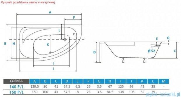 Piramida Cornea 140x80cm Wanna asymetryczna Prawa