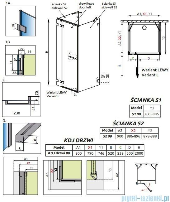 Radaway Euphoria KDJ+S Kabina przyścienna 90x80x90 lewa szkło przejrzyste 383021-01L/383050-01/383030-01